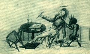 Лицеист В.Кюхельбекер. Рисунок-шутка А.Илличевского. 1816.